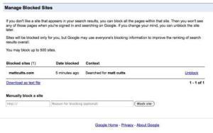 Huella digital - Control para bloquear páginas en las busquedas de Google