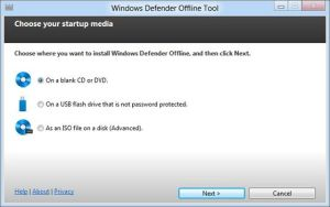 Huella digital - windows defender offline