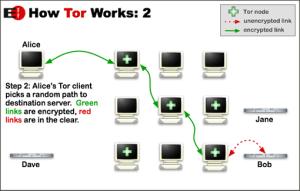 Esta imagen ilustra el camino seguido por tus datos al usar Tor