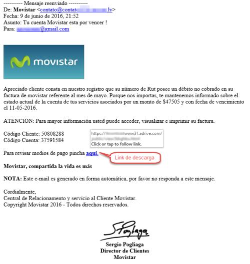 huella digital - De Brasil a Chile, pasando por Francia correos falsos pretenden ser de Movistar