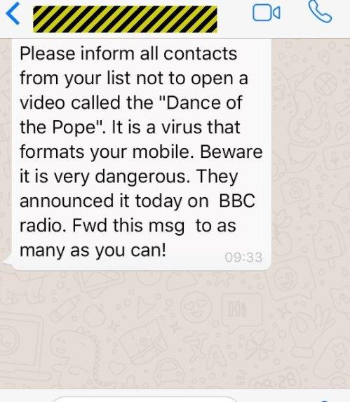 huella digital - Baile del Papa; nuevo virus de Facebook y Whatsapp